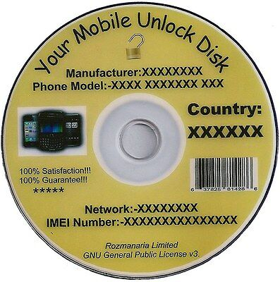 Mobile Phone Unlock Unlocking Software CD DVD Disc and Mobile Unlock Codes 8 GB