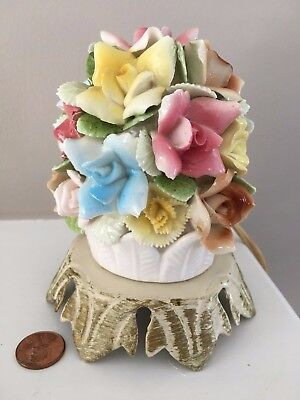 Vintage Night Light Small Table Lamp Floral Flowers Shabby Cottage She Shed CUTE