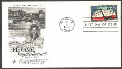 Us Fdc 1967 Erie Canal 5C Stamp Art Craft First Day Of Issue Cover Rome Ny