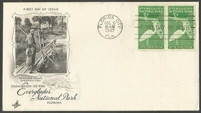 Us Fdc 1947 Everglades National Park 3C Stamps Ac First Day Of Issue Cover Fla