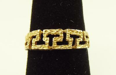 Beautiful 14K Yellow Gold Ring with a Greek Key Design, Size 6  [10006]