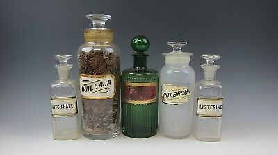 Set of 5 Clear & Green Antique Apothecary Bottles Quillaja, Listerine & More