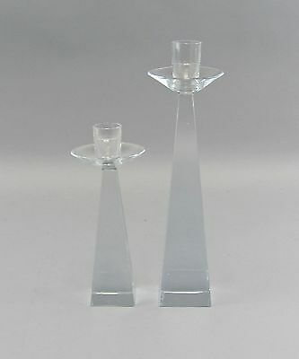 Pair of Signed Mid Century Trapezoid/Pyramid Form Clear Crystal Candelsticks