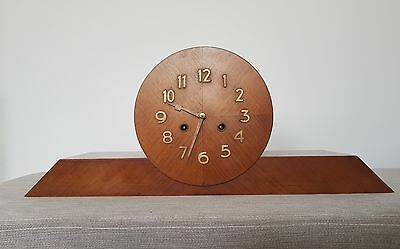 LARGE ORIGINAL 1930s ART DECO WALNUT MANTLE CLOCK - STUNNING