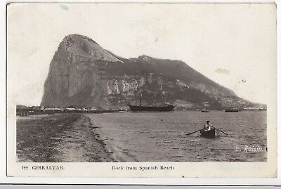 Gibraltar, Rock From Spanish Beach RP PPC, 1939 PMK by L Roisin