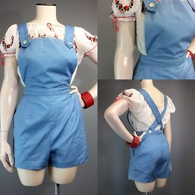 Vtg 50s Pinafore Chambray Romper High Waist Pinup OVERALL Suspender Jumpsuit NOS
