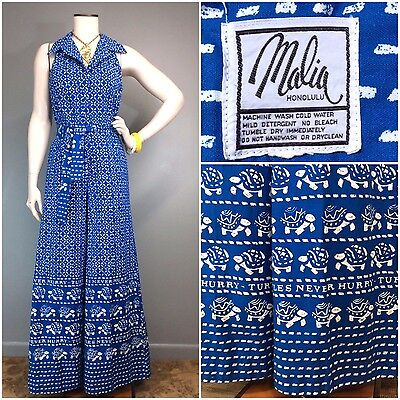 Vtg 70s Novelty Print TURTLES Jumpsuit Resort Romper MALIA Hawaiian Wide Leg M