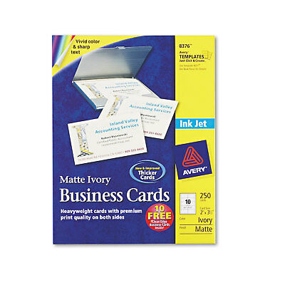 Avery Printable Microperf Business Cards Inkjet 2 x 3 1/2 Ivory Matte 250/Pack