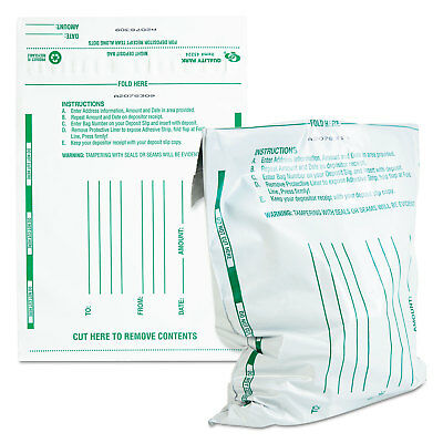 Quality Park Poly Night Deposit Bags w/Tear-Off Receipt 10 x 13 Opaque 100 Bags
