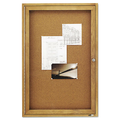 Quartet Enclosed Bulletin Board Natural Cork/Fiberboard 24 x 36 Oak Frame 363