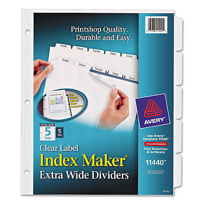 Avery Print & Apply Clear Label Dividers w/White Tabs 5-Tab 11 1/4 x 9 1/4 5