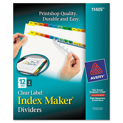 Avery Print & Apply Clear Label Dividers w/Color Tabs 12-Tab Letter 5 Sets 11405