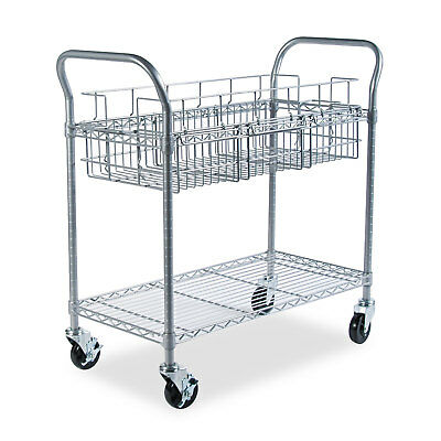 Safco Wire Mail Cart 600-lb Cap 18-3/4w x 39d x 38-1/2h Metallic Gray 5236GR