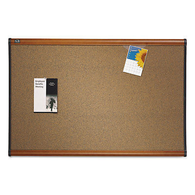Quartet Prestige Bulletin Board Brown Graphite-Blend Surface 48 x 36 Cherry