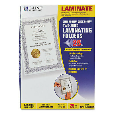 "C-Line Quick Cover Laminating Pockets 12 mil 9 1/8"" x 11 1/2"" 25/Pack 65187"