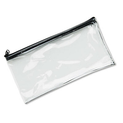 MMF Industries Leatherette Zippered Wallet Leather-Like Vinyl 11w x 6h Clear