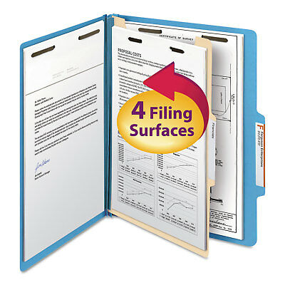 Smead Top Tab Classification Folder One Divider Four-Section Letter Blue 10/Box