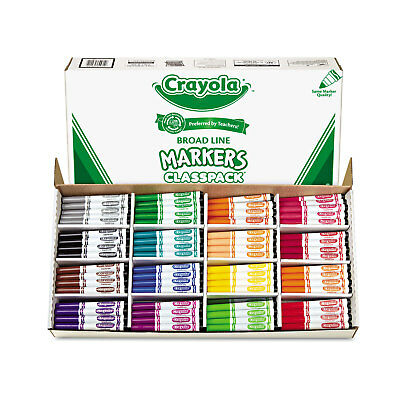 Crayola Non-Washable Classpack Markers Broad Point 16 Classic Colors 256/Box