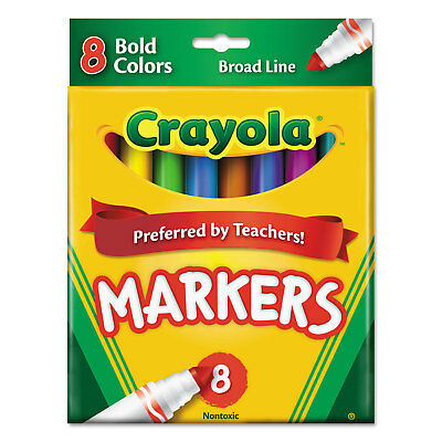 Crayola Non-Washable Markers Broad Point Bold Colors 8/Set 587732