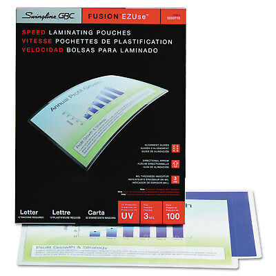 Swingline GBC EZUse Thermal Laminating Pouches 3 mil 11 1/2 x 9 100/Box 3200715