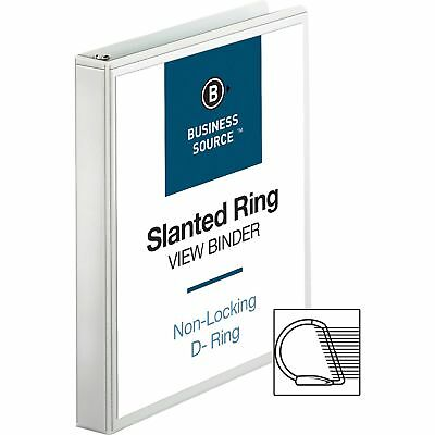 """Business Source D-Ring Binder w/ Pockets 1"""" Capacity White 28440"""