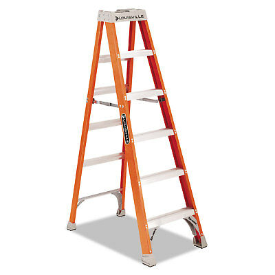 "Louisville Fiberglass Heavy Duty Step Ladder 73 3/5"" 5-Step Orange FS1506"