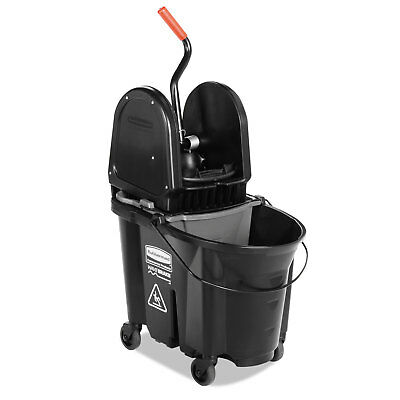 Rubbermaid Commercial Executive WaveBrake Down-Press Mop Bucket Black 35 Quart