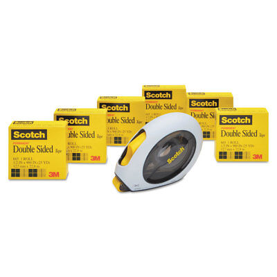 """Scotch Double-Sided Permanent Tape w/Handheld Dispenser Value Pack 1/2"""" x 900"""" 6"""