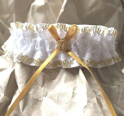 GOLD Edged White LACE Wedding BRIDAL GARTER with Swarovski Beads