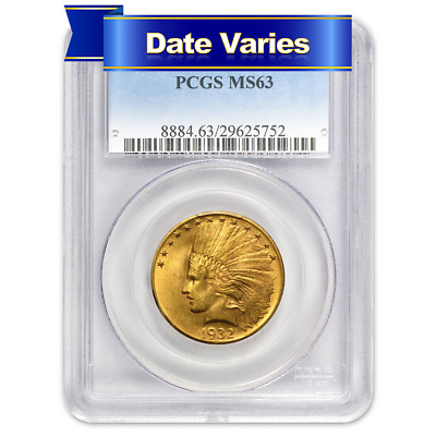 1907 to 1932 $10 Indian Head Gold Eagle PCGS MS63 Random Year