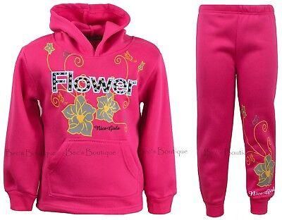 Girls Jogging Suits Tracksuits Hoodie Top & Joggers Kids Clothes Ages 2-12 Years