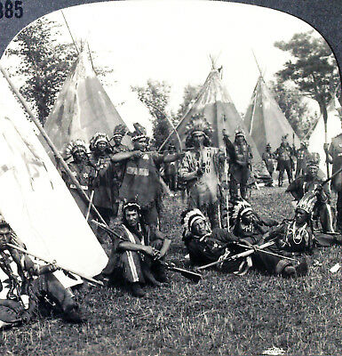 Keystone Stereoview Iroquois Indians, Bow & Arrows, etc. from the 1930s T400 Set