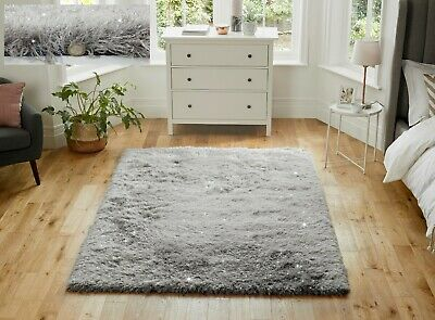 Dazzle Sparkle Sparkly Silver Grey Silky Thick Long Pile Glitter Shaggy Rug