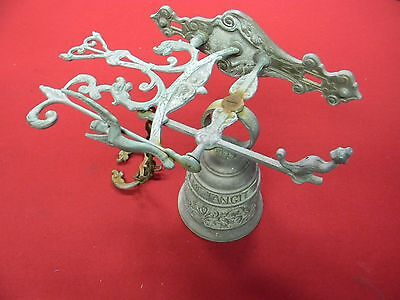 Vintage Brass Bell Door Knocker Angel Wall Mount VOCEM-MEAM-A OVIME-TANGIT 12""