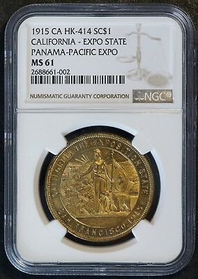 1915 Panama-Pacific Expo California State So-Called Dollar Coin (NGC MS 61 MS61)