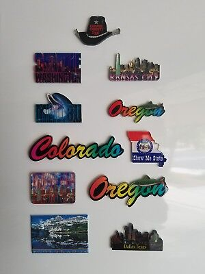 11 assorted state/city refrigerator magnets