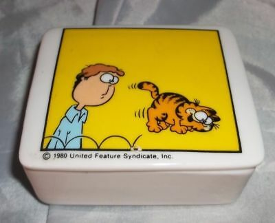 "Vintage 1980 Enesco ""Garfield"" by Jim Davis Ceramic Trinket Box E-7412 Painting"