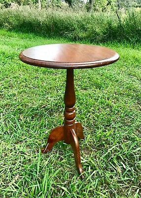 Vintage Antique Round Plant Stand Telephone Night Lamp Deco 3 Leg Solid Wood MCM