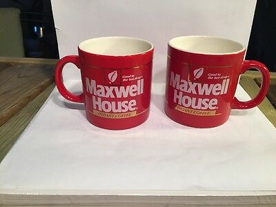 Maxwell House Set 2 Instant Coffee mugs Vintage red ceramic cup Japan