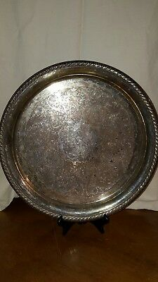 """Antique Wm Rogers 171 Silver-Plated Platter / Tray - 12.5"""" diameter"""