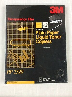 3M Transparency Film for Plain Paper Liquid Toner Copiers PP2520 100 Sheets