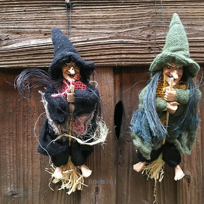 Hanging/Flying Witch On Broom Ornament Halloween Party Randomly Toy Random 1PC