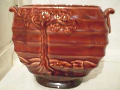 ANTIQUE/VINTAGE CROWN DUCAL VASE BURGANDY COLOUR RELIEF TREE DESIGN C.1939-40's