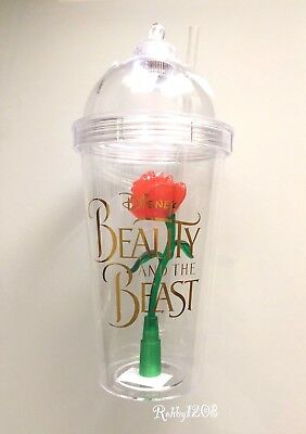 Disney Beauty and The Beast Red Rose Tavern Light Up Enchanted Rose Tumbler Cup