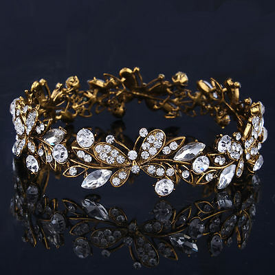 Vintage Gold Plated Crystal Butterfly Tiara Headband Bride Rhinestone Full Crown