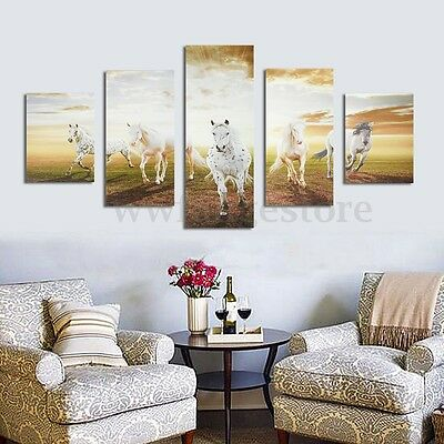 5 Pcs Running Horse Canvas Print Art Painting Picture Home Wall Hanging Decor