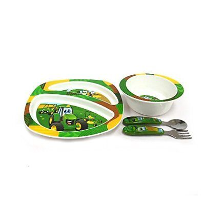 John Deere's Johnny Tractor and Friends Feeding 4 Piece Set, Green, Brown