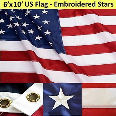 ANLEY [Heavy Duty] American US Flag 6x10 Foot Nylon - Embroidered Stars and