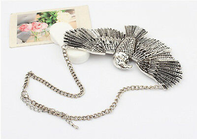Vintage Antique Silver Gold Chain Eagle Wings Choker Collar Pendant Bib Necklace
