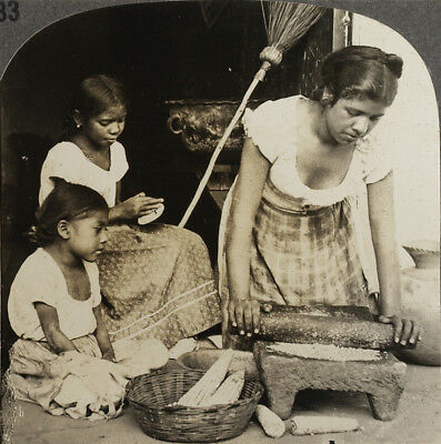 Keystone Stereoview Indian Making Tortillas, SALVADOR, C.A. of 1930s T400 Set #B